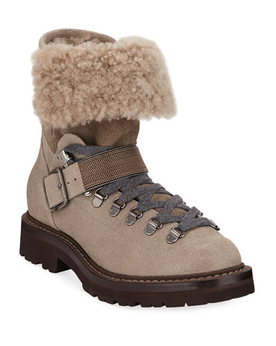 Buffered Leather Shearling Booties