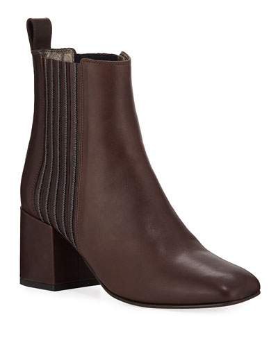 Leather Block-Heel Monili Booties