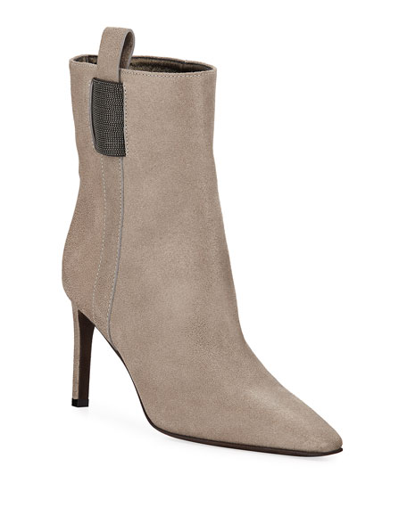 Brunello Cucinelli Buffed Leather Monili Booties