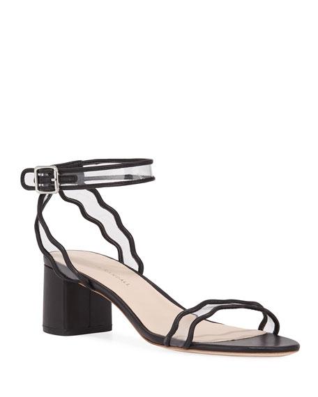 Loeffler Randall Wavy Clear-Strap Leather Sandals