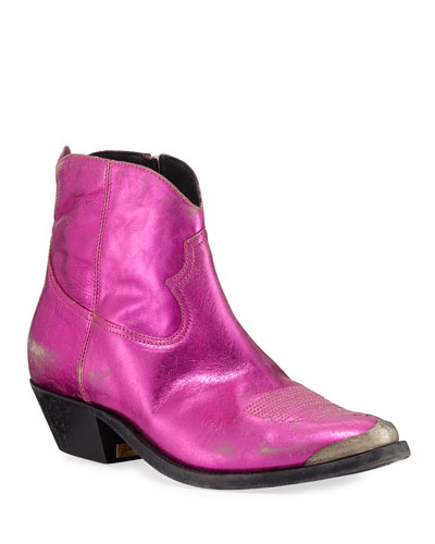 Young Metallic Stitched Booties