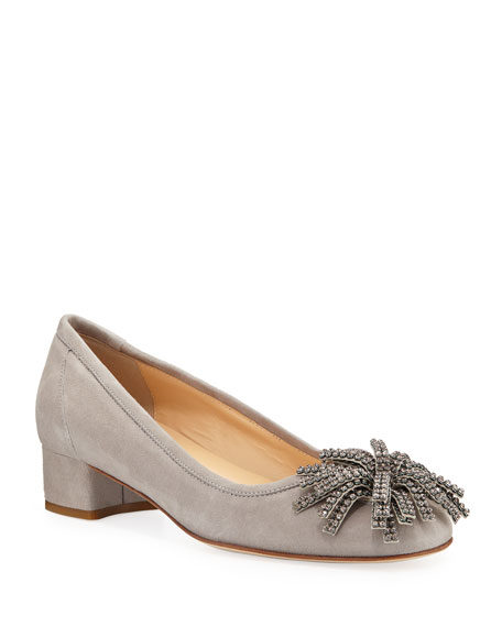 Sesto Meucci Hope Ornamented Suede Block-Heel Pumps, Gray