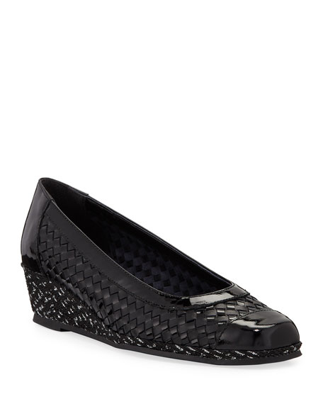 Sesto Meucci Minty Woven Patent Demi-Wedge Pumps, Black