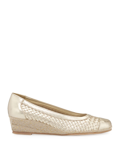 Sesto Meucci Minty Woven Metallic Demi-Wedge Pumps