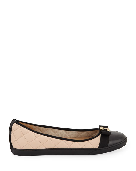 Sesto Meucci Faline Quilted Leather Sneaker Flats, Beige