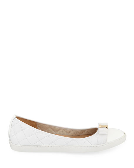 Sesto Meucci Faline Quilted Leather Sneaker Flats, White