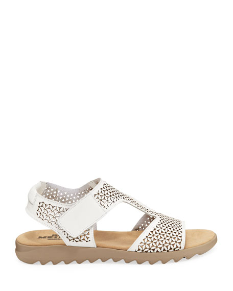 Sesto Meucci Tony Cutout Leather Comfort Sandals, White