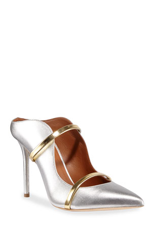 Malone Souliers Maureen 100mm Metallic Leather Two-Strap Mules