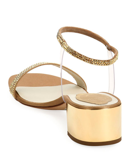 Rene Caovilla 40mm Sandals with See-Through Ankle Wrap