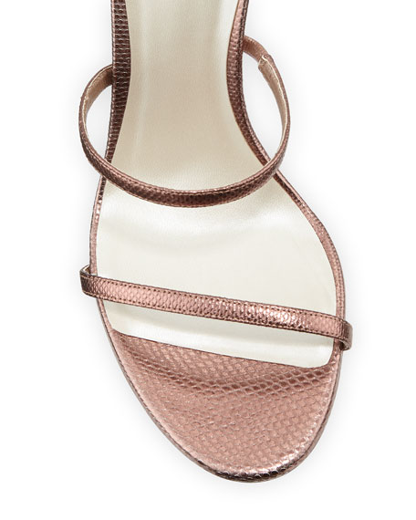 Rene Caovilla Snake-Coil Lizard Sandals with Crystal Detail