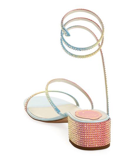 Rene Caovilla Rainbow Ombre Crystal Snake 40mm Sandals