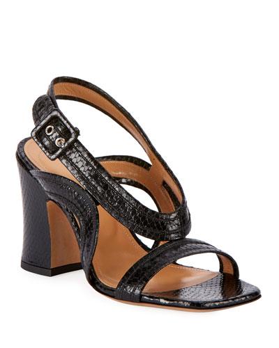 Chunky Snake-Embossed Sandals