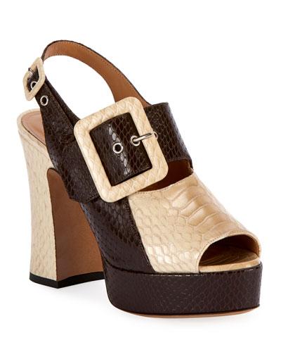 Two-Tone Platform Sandals