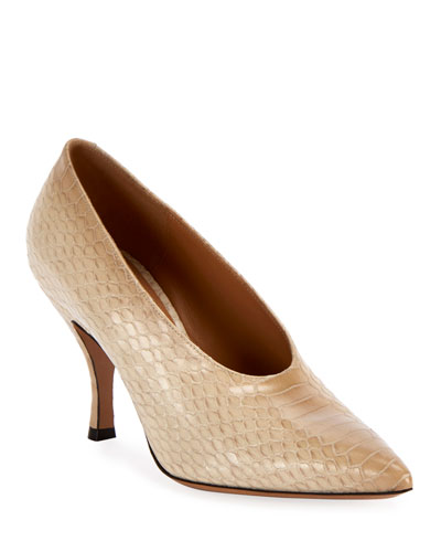Pointed Python-Embossed Pumps