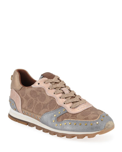 C118 Metallic Lace-Up Trainer Sneakers