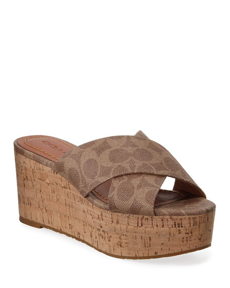 Coach Logo Platform Cork Sandals