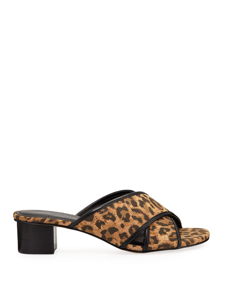 Donald J Pliner Mally Low-Heel Leopard Cork Sandals