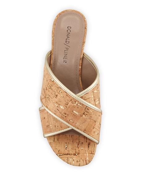 Donald J Pliner Mally Metallic Cork Slide Sandals