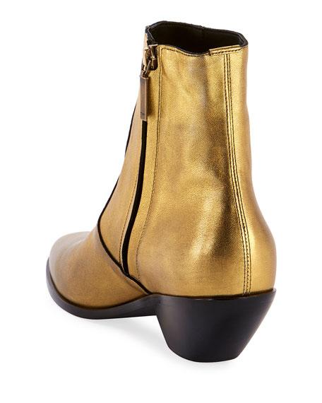 Saint Laurent West Metallic Zip Booties