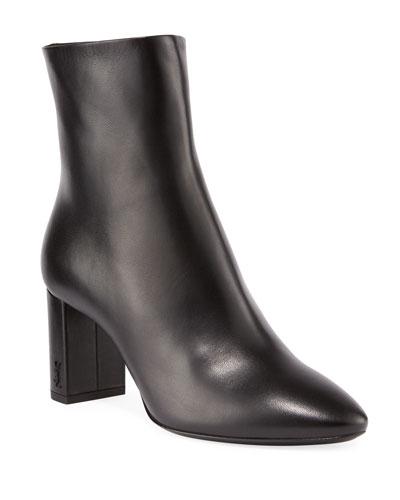 Lou Pin Zip Leather Block-Heel Booties