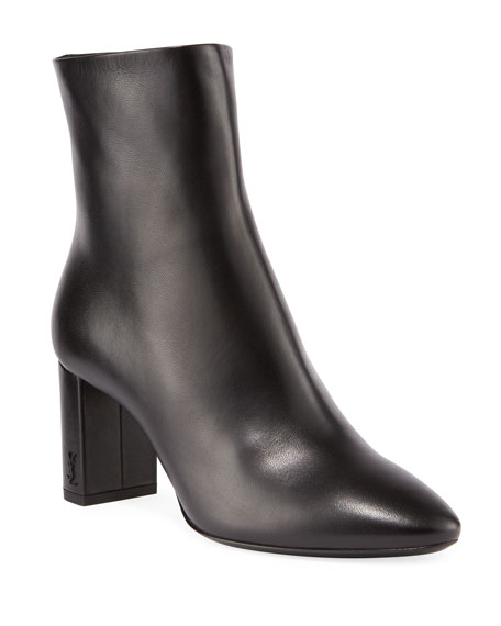 Saint Laurent Lou Pin Zip Leather Block-Heel Booties