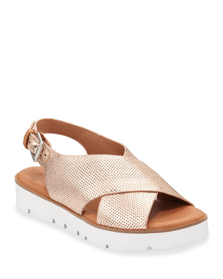 Gentle Souls Prisca Metallic Leather Slingback Sandals