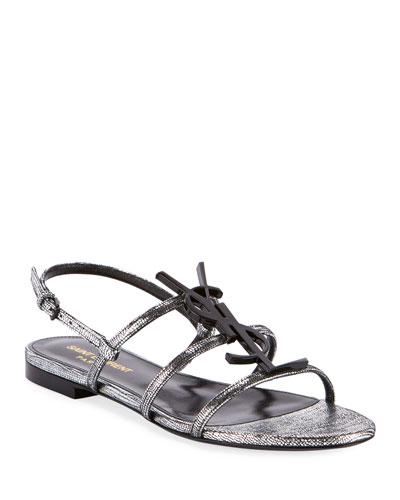 Cassandra YSL Logo Flat Metallic Sandals