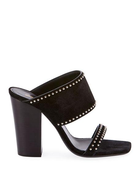 Saint Laurent Oak Heeled Suede Sandals