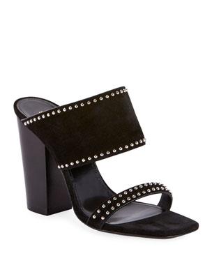 d99aa212231a Saint Laurent Oak Heeled Suede Sandals