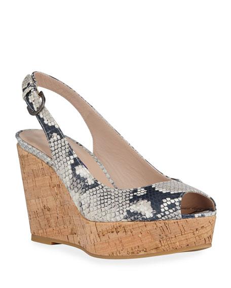 Stuart Weitzman Jean Slingback Wedge Sandals