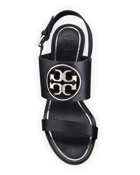 Tory Burch Metal Miller Slingback Wedge Sandals