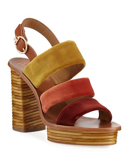 Tory Burch Patos Velour Banded Platform Sandals