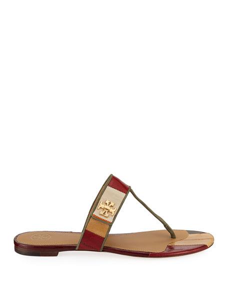 Tory Burch Kira Patchwork Leather Flat Sandals