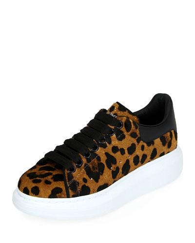 Leopard Calf-Hair Platform Sneakers