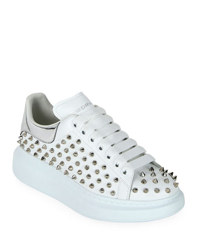 Spike-Studded Leather Platform Sneakers