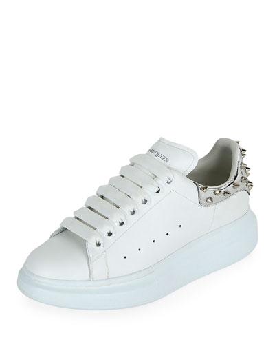 Spike-Heel Leather Platform Sneakers