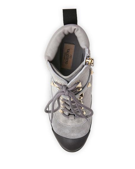Valentino Garavani Rockstud Lace-Up Water-Resistant Hiking Boots