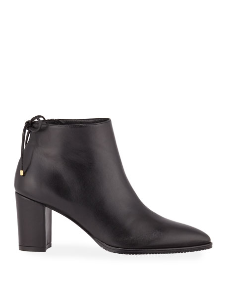 Stuart Weitzman Gardiner Leather Block-Heel Ankle Booties