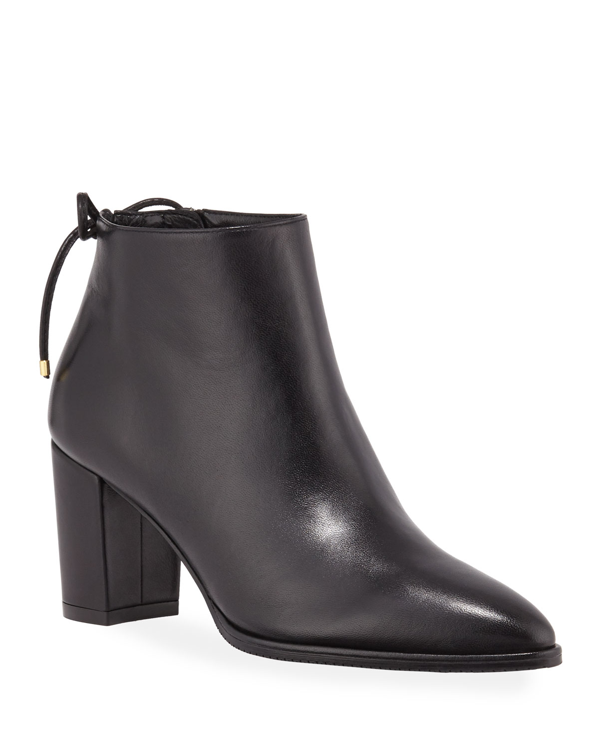 Studded coated leather ankle boots