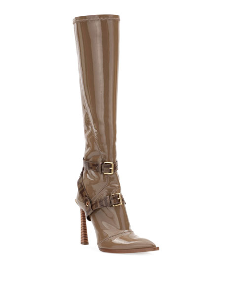 Fendi Neoprene To-The-Knee Boots, Brown