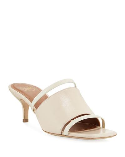 Laney Banded Leather Kitten-Heel Slide Sandals