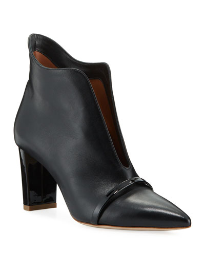 Open-Front Leather Ankle Booties