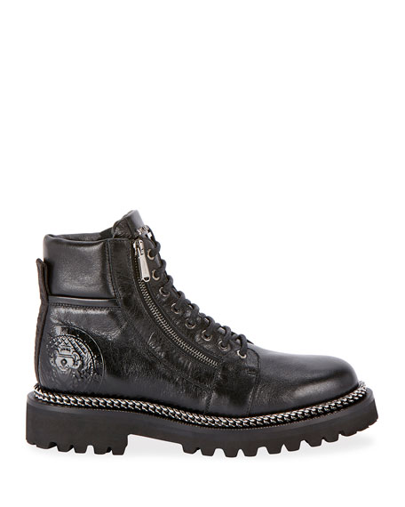 Image 2 of 3: Army Shiny Chain-Trim Boots