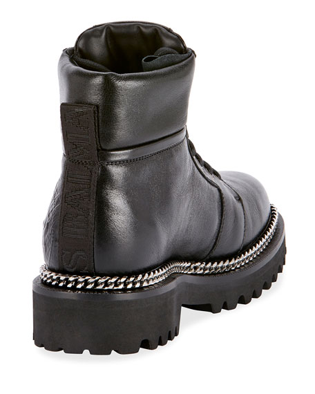 Image 3 of 3: Army Shiny Chain-Trim Boots