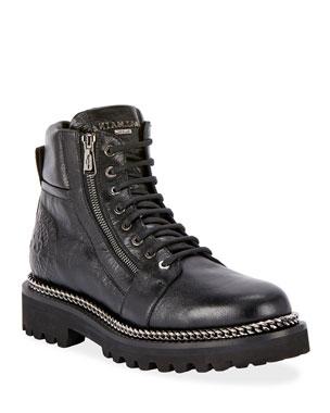 d6486fdc012 Balmain Army Shiny Chain-Trim Boots