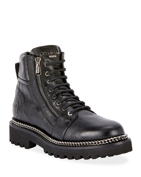 Image 1 of 3: Army Shiny Chain-Trim Boots
