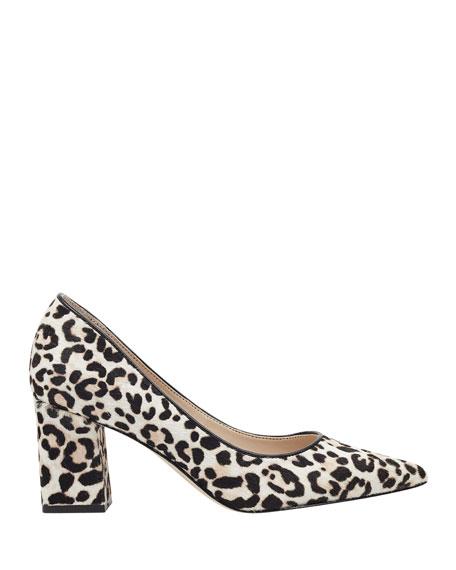 Marc Fisher LTD Zalaly Leopard-Print Chunky-Heel Pumps