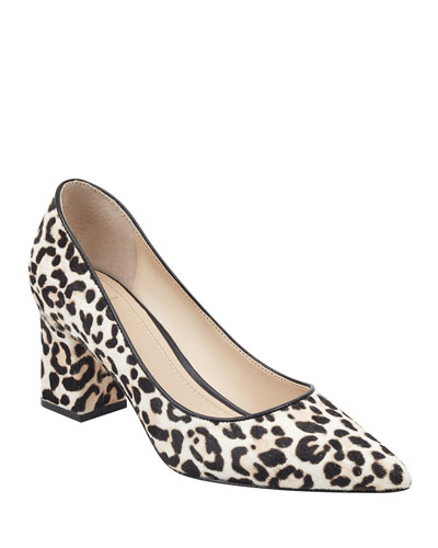 Zalaly Leopard-Print Chunky-Heel Pumps