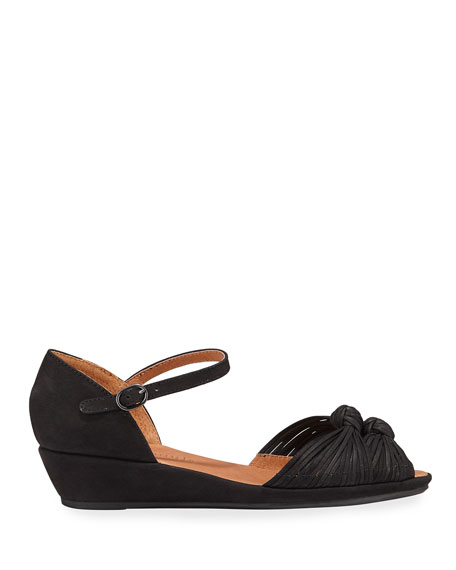 Gentle Souls Lily Knotted Nubuck Wedge Sandals