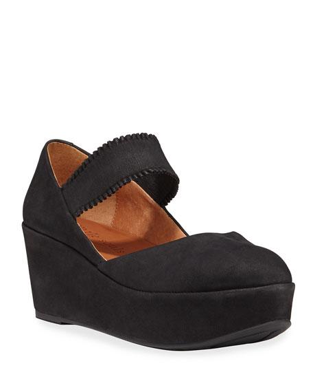 Gentle Souls Nyssa Ruffle-Strap Nubuck Wedge Sandals
